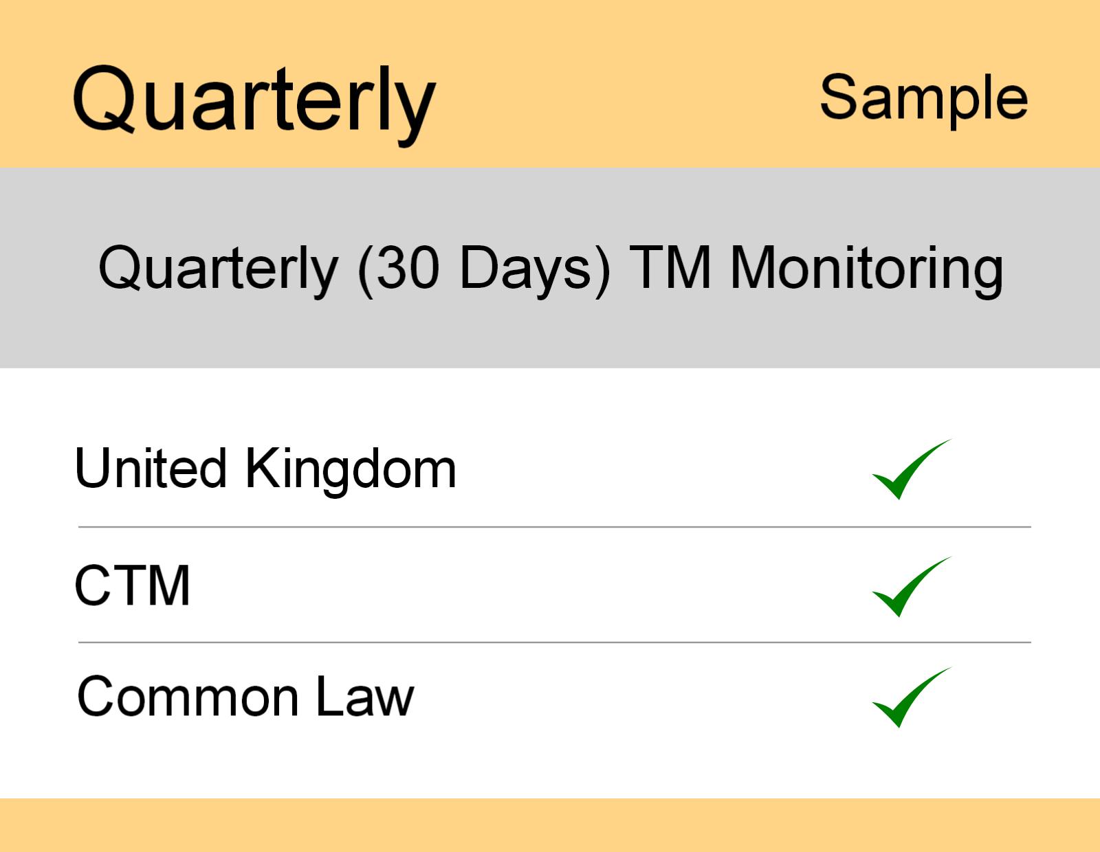 Image for Quarterly : UK TM Monitoring - Sample Report