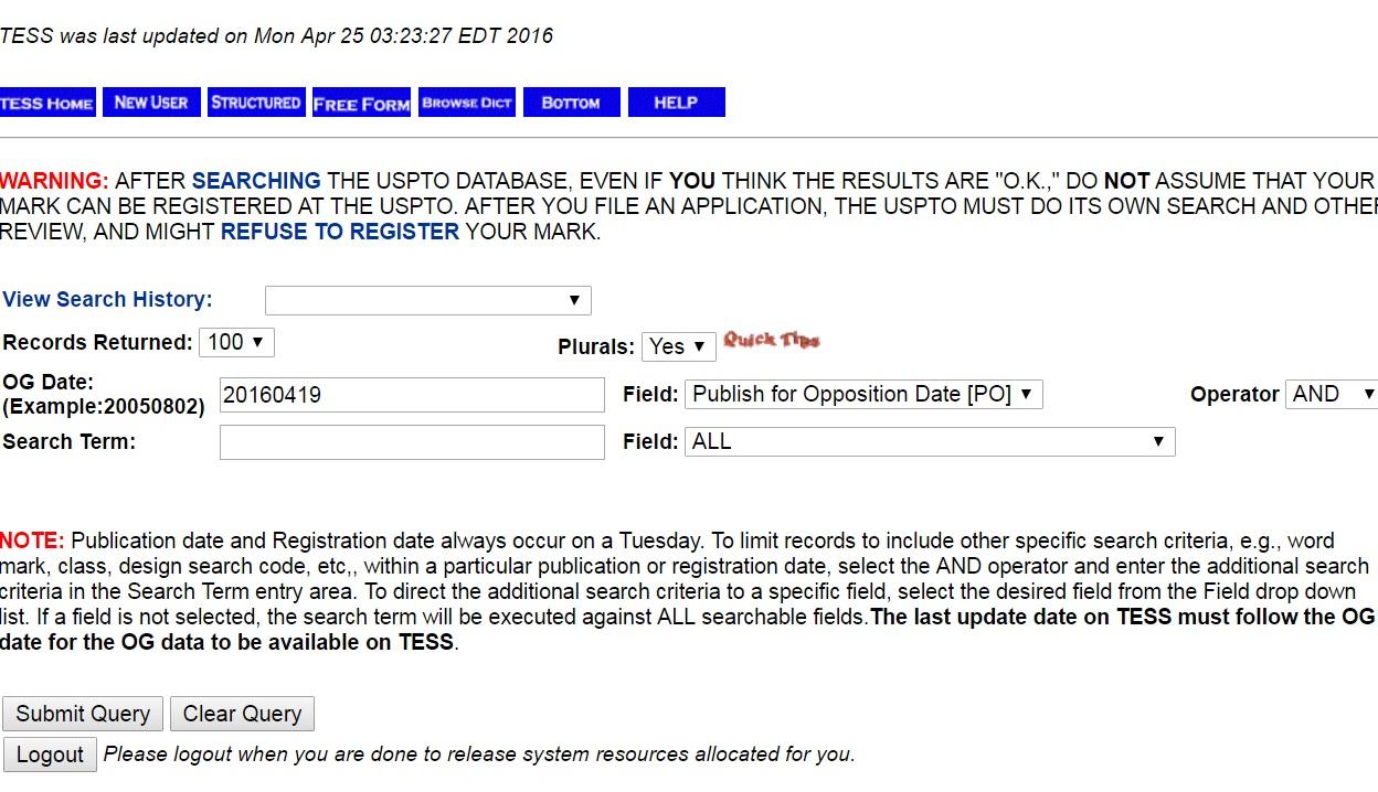 OG publication search form