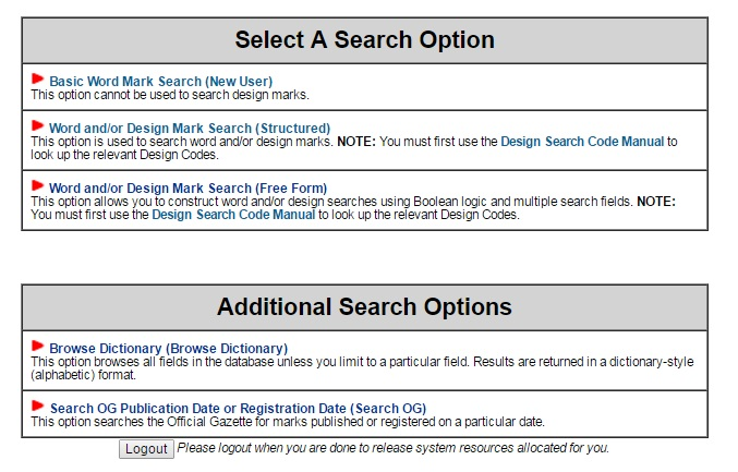 Us patent office's trademark electronic search system