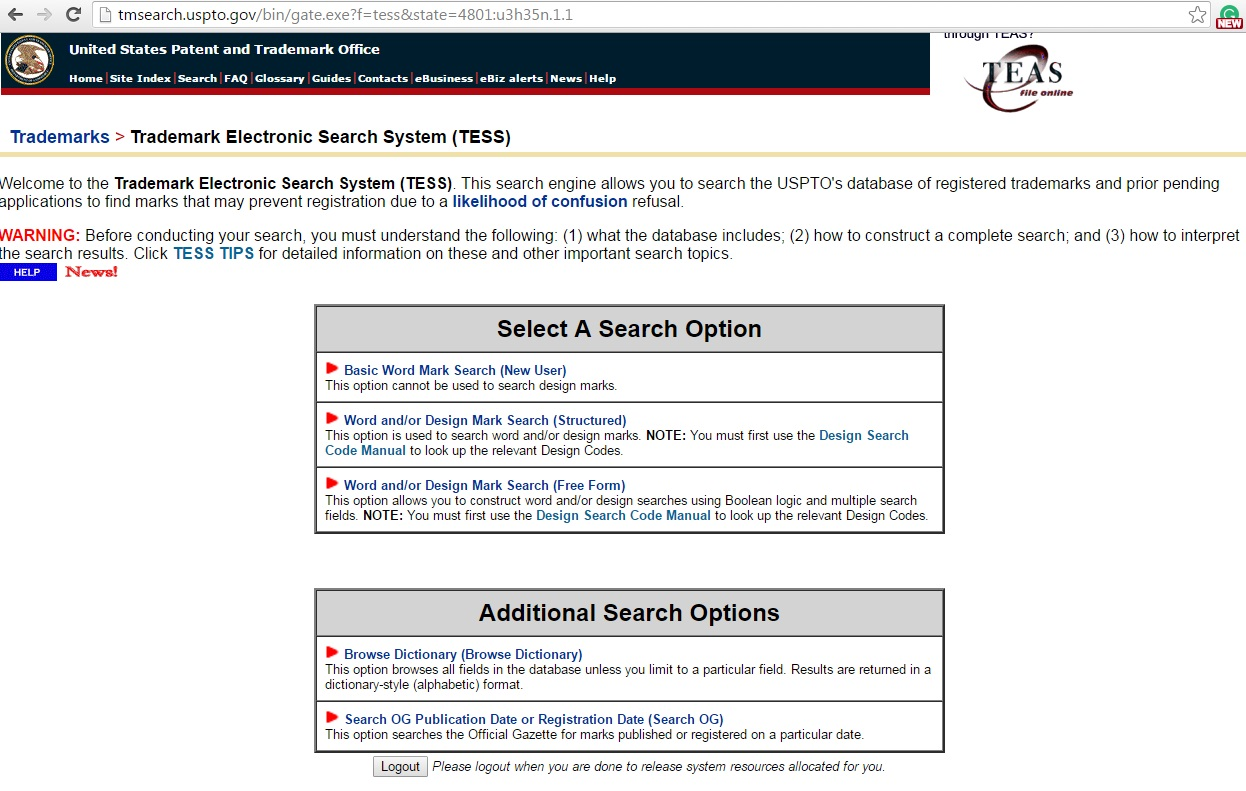 Us patent and trademark office trademark electronic search system