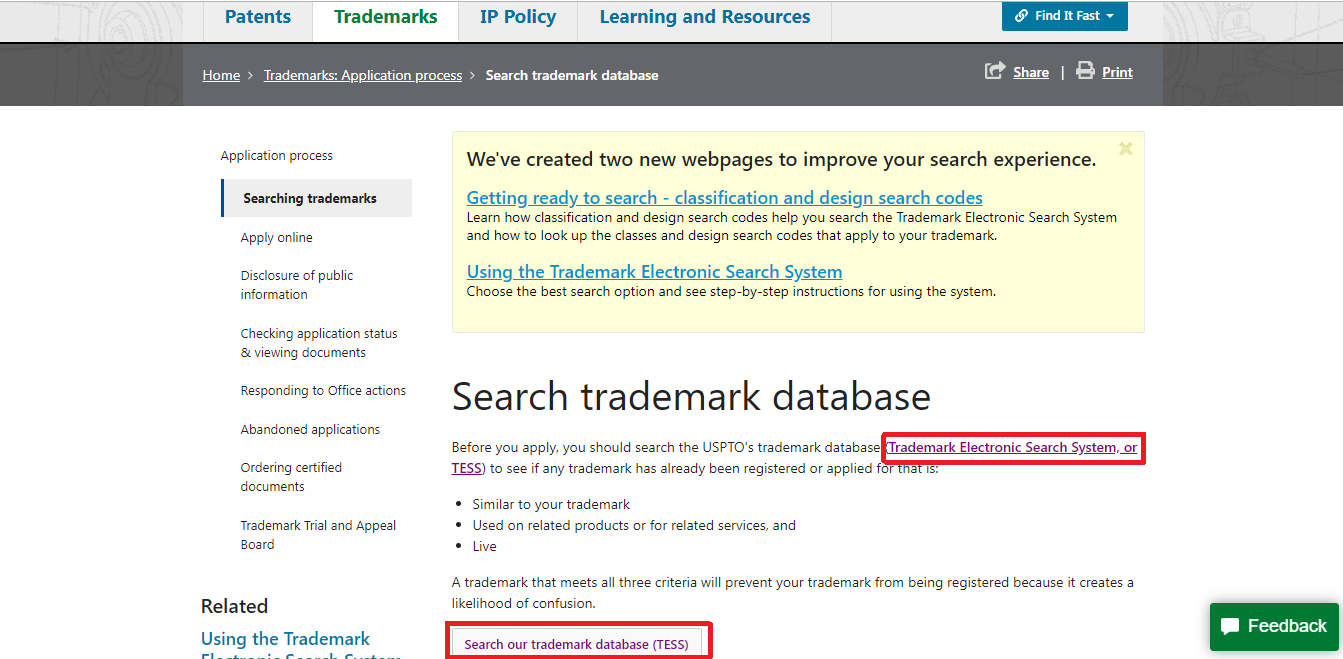 Fig 3(b). How to carry out Trademark Search on the USPTO Website