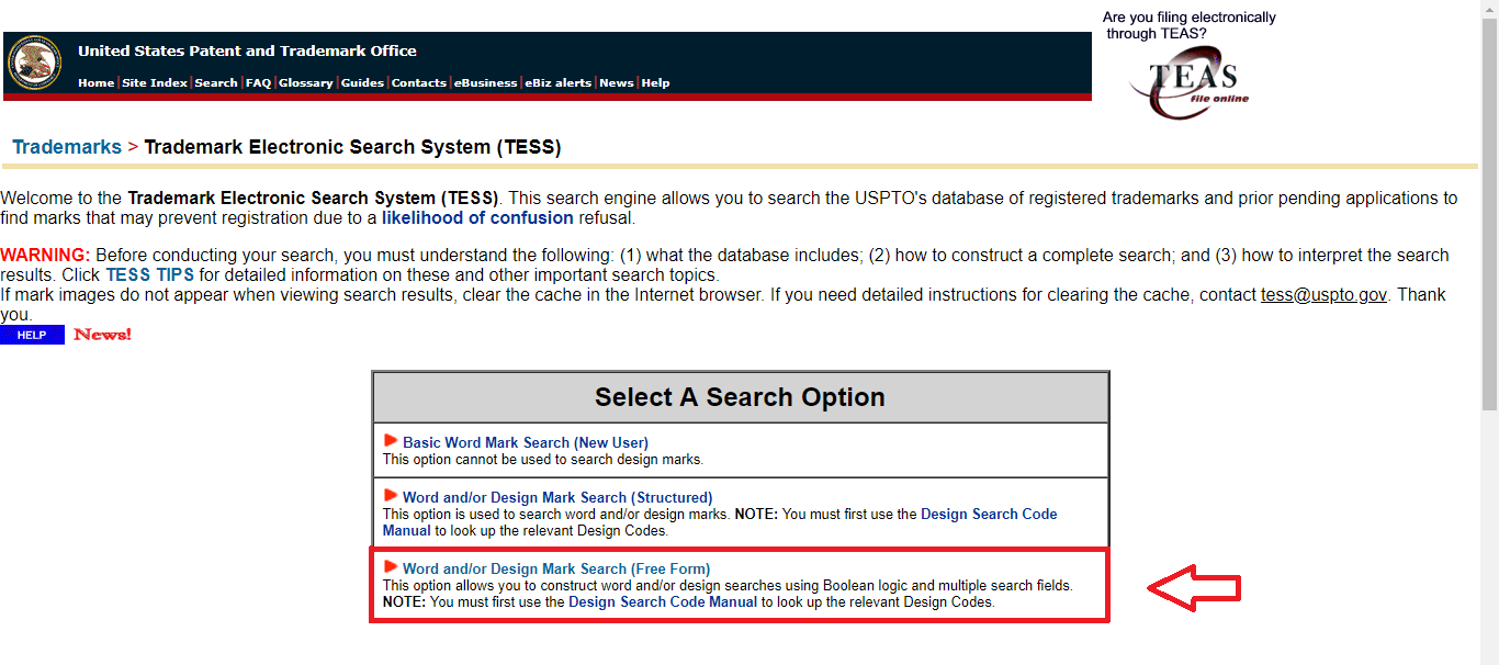 Fig 4. Selection of search option on TESS