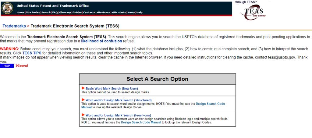 Figure 1- TESS Homepage